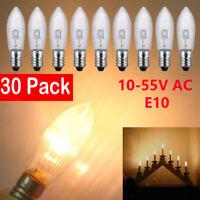 30 Stück E10 LED Ersatzbirnen Top Kerze für Lichterketten Lampe 0,2 W/10-55V Sg