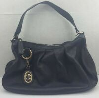 *US SELLER* Authentic GUCCI Sukey GG Canvas One Shoulder Hand Bag 232955 Black
