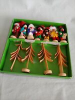 7 Vintage German Wooden Christmas Ornaments Gnomes Germany Wood Hirschmann