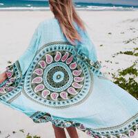 Boho Women Indian Mandala Loose Shawl Kimono Cardigan Chiffon Coat Jacket Blouse