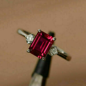 2Ct Vintage Emerald Cut Pink Ruby Solitaire Wedding Ring 14K White Gold Finish