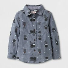 Cat & Jack Toddler Long Sleeve Rabbit in Hat Button Down Shirt NWT - 2T