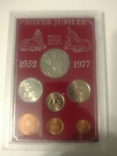 1952-1977 BRITISH SILVER JUBILEE 2 SETS 25TH ANNIVERSARY 7 COIN SET UNCIRCULATED