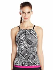 Ocean Avenue Women's Check It High Neck Tankini, Black White Pink Size Medium M