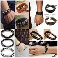 Fashion Vintage Men Women Metal Steel Studded Leather Bangle Cuff Bracelet