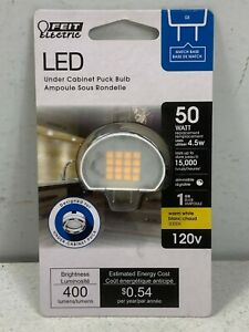 Feit Electric Under Cabinet Puck LED G8 Light Bulb. 50 Watt Equivalent. Dimmable
