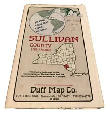 Vintage 1990 TOWNSHIP AND ROAD MAP OF SULLIVAN COUNTY NEW YORK Duff Map Co