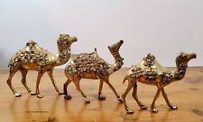 Brass Vintage Camels With Multicolored Stones And Jewels
