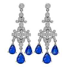Gorgeous Pair Of 925 Sterling Silver Blue Sapphire & White CZ Chandelier Earring
