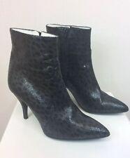 Women's White Ron White Black Leather Snakeskin Pattern Boots Size 37 US 6.5