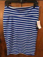 LuLaRoe Cassie Skirt M Sapphire Blue White Stripe