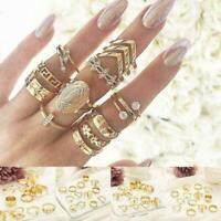 13 teile/satz Frauen Boho Punk Gold Midi-Finger-Ring Kristall Knuckle Ringe K7P2