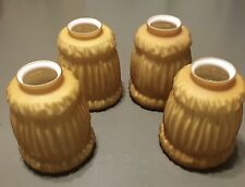 4 NEW VTG Glass Replacement Globes Victorian Style Amber/White Ceiling Pole Lamp