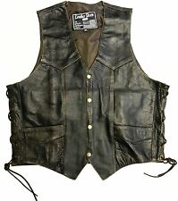 LEATHER SHEEN Men's 100% BROWN Leather Vest - BRAND NEW - SIZE 46 - VERY NICE