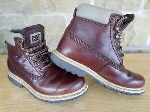 Caterpillar CAT Unisex Non-Safety Dark Tan Leather Boots UK Size 6