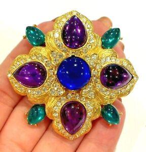 Joan Rivers Glass Rhinestones Green Blue Purple Maltese Cross Gold Tone Brooch