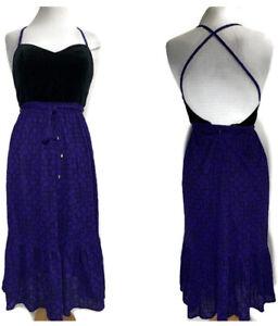 Vintage Midi Dress Purple & Black Open Back Fit & Flare Gothic Boho UK Size 8/10