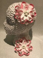 Pair peachy pink, and white Harajuku romany hair bows bobbles with paper flowers