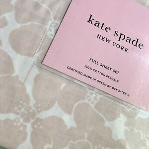 Kate Spade FULL 4pc Sheet Set, Large Scale PINK Floral, Cotton Percale, Free 📦