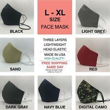 L Xl Extra Large face mask cotton Black Sand Gray Navy Blue Red Sand cubrebocas
