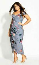 City chic Floral Shadows Maxi Dress - mauve Size S