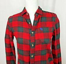 Abercrombie Kids Boys Muscle Plaid Flannel Button Up Front Shirt Size L Large