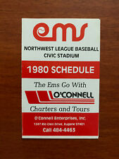 MiLB 1980 EUGENE EMERALDS Minor League Baseball Schedule Cincinnati Affiliate