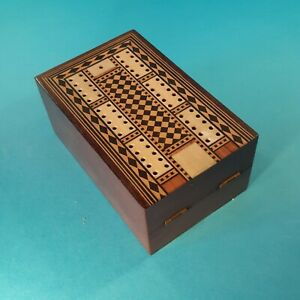 ANTIQUE FOLDING CRIBBAGE BOARD BOX - INLAID WOOD  ( CRIB