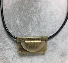 SILPADA ANTIQUE BRASS TONE+TAN RESIN FLAP SHAPED+BLACK CORD CHARM NECKLACE