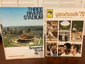 Three Rivers Stadium Souvenir Book and 1972-74 Pittsburgh Pirates yearbooks