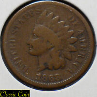 1868 Indian Head Cent 1c Tougher Date Penny Copper