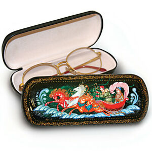 Hard Shell Eyeglasses / Shades Case, Russian Troika Pattern, Palekh Style