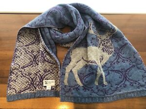 Johnstons of Elgin 100% Cashmere Stag Print Scarf Reversible. Limited Edition