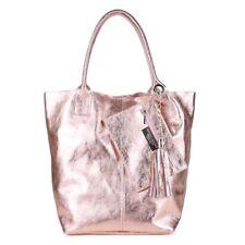Metallic Quasten Kette Schulter Tasche Ital Leder Rose Gold Shopper Borse Pelle