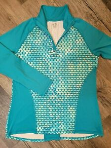 Champion Womens Size L Activewear Top  Semi Fitted Quarter Zip Teal