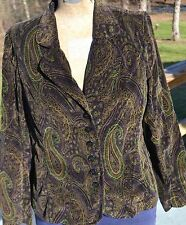 Women's Coldwater Creek Size M Purple Teal Olive Green Paisley Print Blazer EUC