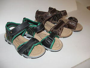 Surf Side 6  girls, boy shoes casual brown,black/green leather size ;13;1;2