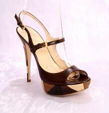 LORIBLU 9830 Brown Leather  Strappy Sandals 39 / US 9