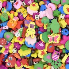 50pcs Assorted Cartoon Heart Animals Wooden Beads Embellish Craft Jewelry DIY