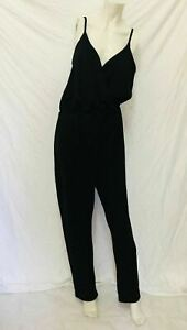 Boohoo Women's Jumpsuit Black Romper Size 16 Spaghetti Straps V Neck