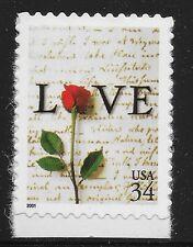 US Scott #3497, Single 2001 Love 34c VF MNH