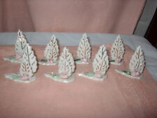 PLACE CARD HOLDERS FOR DINING SET OF (8) CERAMIC PRETTY W/PINK FLOWER 1) DAMAGED