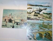 3 vintage Art prints Mid Century Beach at Fecamp St. Michael's Bridge Morro Bay
