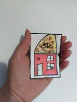 Aceo original Aceo original painting Aceo art card Aceo house Aceo pencil red