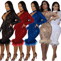 Sexy Women Long Sleeves Bodycon Sequined Clubwear Party Cocktail Evening Dress
