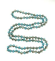 Vintage Blue Glass Bead Necklace Long Strand 8 mm 38""