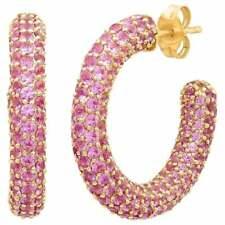2.50 Ct Pink Sapphire Women's Silver Hoop Earring 14K Yellow Gold Plated