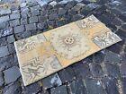 Turkish small rug, Handmade wool rug, Vintage rug, Doormat   1,3 x 2,7 ft