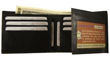 Mens Genuine Leather Black Flap Credit Card ID Holder Slim Bifold Wallet