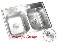"33"" x 22"" x 9"" Stainless Steel Topmount Drop In Kitchen Sink Double Bowl 50/50"